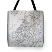 Map Of Belgium And Holland Or The Netherlands Tote Bag