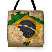 Map Of Brazil With Flag Art On Distressed Worn Canvas Tote Bag