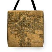 Map Of Denver Colorado City Street Railroad Schematic Cartography Circa 1903 On Worn Canvas Tote Bag