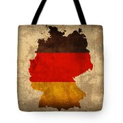 Map Of Germany With Flag Art On Distressed Worn Canvas Tote Bag by Design Turnpike