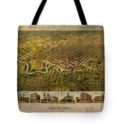 Map Of Houston Texas Circa 1891 On Worn Distressed Canvas Tote Bag