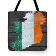 Map Of Ireland Plus Irish Flag License Plate Art On Gray Wood Board Tote Bag