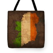 Map Of Ireland With Flag Art On Distressed Worn Canvas Tote Bag