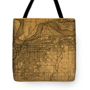 Map Of Kansas City Missouri Vintage Old Street Cartography On Worn Distressed Canvas Tote Bag