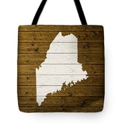 Map Of Maine State Outline White Distressed Paint On Reclaimed Wood Planks. Tote Bag