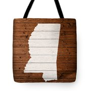 Map Of Mississippi State Outline White Distressed Paint On Reclaimed Wood Planks. Tote Bag