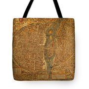 Map Of Paris France Circa 1550 On Worn Canvas Tote Bag