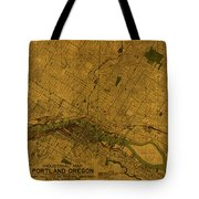Map Of Portland Oregon City Street Schematic Cartography Circa 1924 On Worn Parchment  Tote Bag