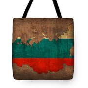Map Of Russia With Flag Art On Distressed Worn Canvas Tote Bag