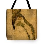 Map Of San Diego Bay California Circa 1857 On Worn Distressed Canvas Parchment Tote Bag