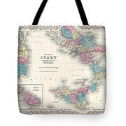 Map Of Southern Italy Sicily Sardinia And Malta Tote Bag