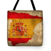 Map Of Spain With Flag Art On Distressed Worn Canvas Tote Bag