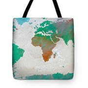 Map Of The World - Colors Of Earth And Water Tote Bag