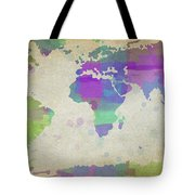 Map Of The World - Plaid Watercolor Splatter Tote Bag