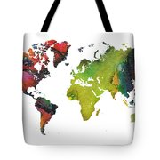 Map Of The World Red Green Tote Bag