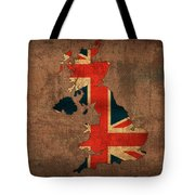 Map Of United Kingdom With Flag Art On Distressed Worn Canvas Tote Bag