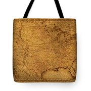 Map Of United States Of America Vintage Schematic Cartography Circa 1855 On Worn Parchment  Tote Bag
