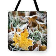 Maple Frost Leaf Art Tote Bag