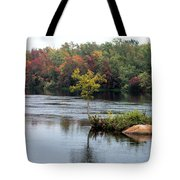 Maple Tree On A Rocky Island Tote Bag