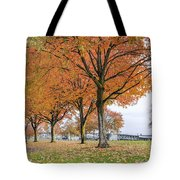 Maple Trees In Portland Downtown Park In Fall Tote Bag