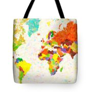 maps pointilism World Map with leaves Tote Bag