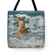 Marbled Godwit Over Surf Tote Bag