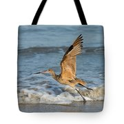 Marbled Godwit Taking Off On Beach Tote Bag