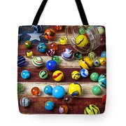 Marbles On American Flag Tote Bag by Garry Gay