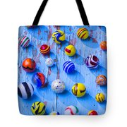 Marbles On Blue Board Tote Bag