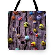 Marbles On Wood Tote Bag