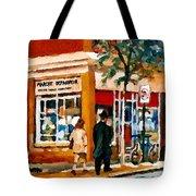 Marche Depanneur Storefront Paintings Authentic Montreal Art Prints Originals Commissions C Spandau Tote Bag