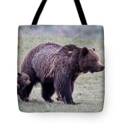 Marching Mama Grizzly And Cub  Tote Bag