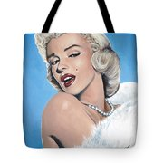 Marilyn Monroe - Blue Backround Tote Bag