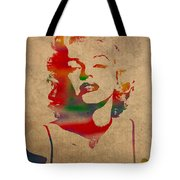 Marilyn Monroe Watercolor Portrait On Worn Distressed Canvas Tote Bag by Design Turnpike