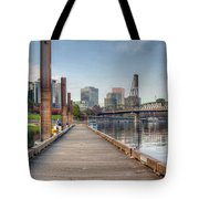 Marina Along Willamette River In Portland Oregon Downtown Tote Bag