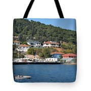 Marina Bay Scene With Boat And Houses On Hills Tote Bag