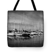 Marina Boats In Victoria British Columbia Black And White Tote Bag
