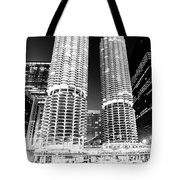 Marina City Towers At Night Black And White Picture Tote Bag