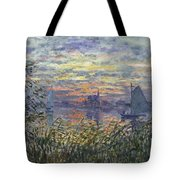 Marine View With A Sunset Tote Bag