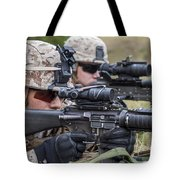Marines And Sailors Wait For A Ch-53e Tote Bag