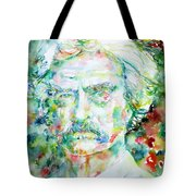 Mark Twain - Watercolor Portrait Tote Bag by Fabrizio Cassetta