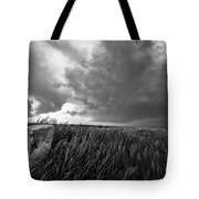 Marker - Black And White Photo Of Stone Marker And Brewing Storm In Kansas Tote Bag