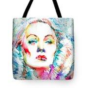 Marlene Dietrich - Colored Pens Portrait Tote Bag