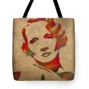 Marlene Dietrich Movie Star Watercolor Painting On Worn Canvas Tote Bag