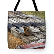 Marmot Resting On A Railroad Tie Tote Bag