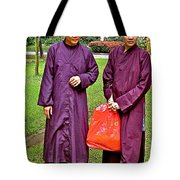 Maroon-robed Monks At Buddhist University In Chiang Mai-thailand Tote Bag