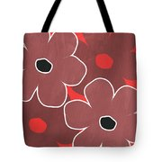 Marsala And Red Flowers- Bold Floral Art Tote Bag
