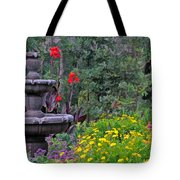 Garden Fountain And Flowers Tote Bag