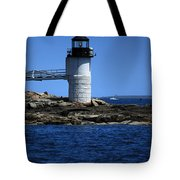 Marshall Point Surrounded By Blue Tote Bag by Karol Livote