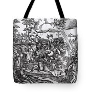 Martin Luther 1483 1546 Writing On The Church Door At Wittenberg In 1517 Tote Bag